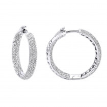 1 Inch Diamond Hoop Earrings 1.31ct 14K Gold