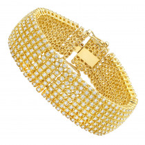 Hip Hip Real 10K Gold 8-Row Tennis Diamond Bracelet for Men 10 Carats