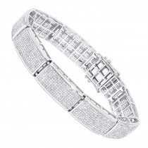 10K Gold Mens Diamond Bracelet 6.72ct