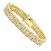 10K Gold Three Row Diamond Bracelet for Men White & Yellow Diamonds 1 Carat