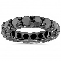 14k Black Gold Bands: 5ct Black Diamond Eternity Ring