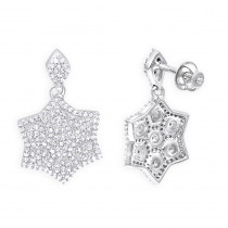14K Diamond Star Drop Earrings for Women 0.75ct
