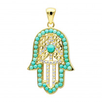 14K Filigree Turquoise Diamond Hamsa Pendant 0.19ct