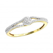 Thin 14K Gold Cluster Diamond Ring 0.31ct