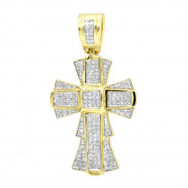 14K Gold Diamond Cross Pendants Piece 2.19ct