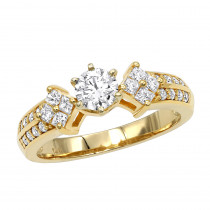 14K Gold Prong Set Diamond Designer Engagement Ring 1.06ct