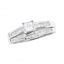 14K Gold Princess Cut Diamond Engagement Ring Set 1.22ct