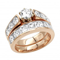 14K Gold Diamond Handmade Designer Engagement Ring Set 2.92ct