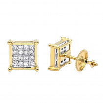 14K Gold Diamond Earrings Princess Cut Diamonds 0.65ct