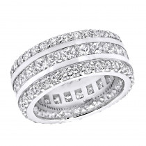 14K Gold Round and Princess Cut Diamond Eternity Ring 10mm Wide 5.68ct