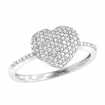 14K Gold Diamond Heart Ring for Women 0.46ct