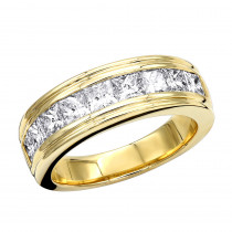 14K Gold Diamond Men's Wedding Ring 2.43ct