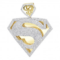 Real 14K Gold Diamond Superman Pendant for Men 4.5ct S Letter Charm