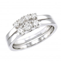 Affordable Diamond Three Stone Engagement Ring Set w Wedding Band 14k Gold