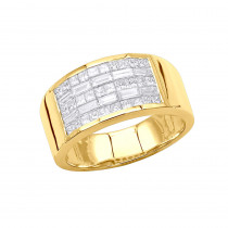 Unique Wedding Bands 14K Gold Mens Diamond Pinky Ring Invisible Set 2.95ct
