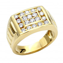 14K Gold Men's Diamond Ring 1.32ct