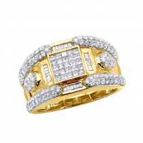 14K Yellow Gold Mens Diamond Ring 2.88ct