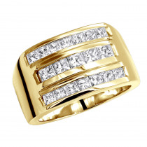 14K Gold Men's Princess Diamonds Ring 2.62ct