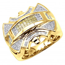 14K Gold Mens White Yellow Diamonds Ring 1.2ct
