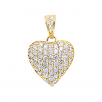 14k Gold Pave Diamond Heart Pendant 1ct