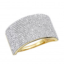 14K Gold Pave Diamond Wedding Band 1.26ct