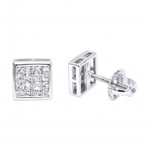 14K Gold Princess Cut Diamond Stud Earrings 0.54ct