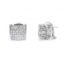 14K Gold Princess Cut Diamond Stud Earrings 2.3ct