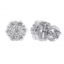 14K Gold Prong Round Diamond Clusters Earrings 1.2ct Studs