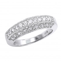 14K Gold Round Diamond Band with Milgrain 0.57ct