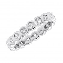 14K Gold Round Diamond Eternity Band Bezel Set Diamonds 1.60ct