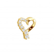 14k Gold Round Diamond Floating Heart Pendant 0.25ct