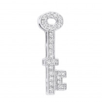 Small Solid 14K Gold Round Diamond Key Pendant for Women 0.25ct