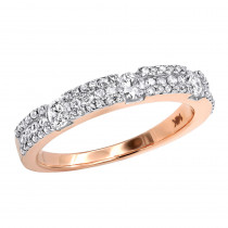 Thin 14K Gold Women's Diamond Wedding Band 0.76ct