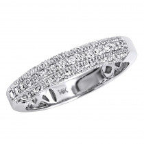 14K Gold Womens Diamond Wedding Band Milgrain .33ct