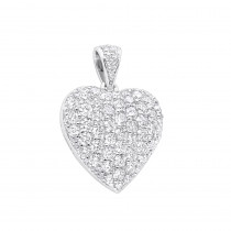 Designer 14K Gold Pave Large Diamond Heart Pendant 4ct