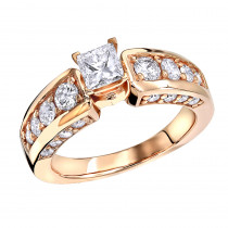 14K Gold Round Princess Cut Diamond Engagement Ring 1.66ct