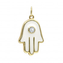 14K Gold Small Hamsa Hand Pendant Necklace with Diamond 0.04ct White Enamel