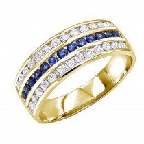 18k Gold Diamond and Sapphire Wedding Band for Men or Women by Luxurman