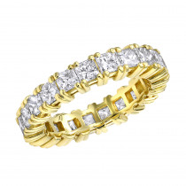18K Gold Princess Cut Diamond Eternity Band 3.74ct Ladies Anniversary Ring