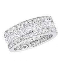 18K Gold Round & Princess Diamond Eternity Rings 5 Carat Anniversary Band