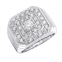 18K Gold Mens Diamond Ring 2.1ct VS Diamonds Statement Jewelry Square Shape