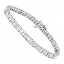 18K Gold Princess Cut Diamond Tennis Bracelet 12.62ct