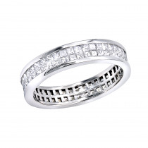 Thin 18K Gold Princess Diamond Eternity Ring 1.29ct