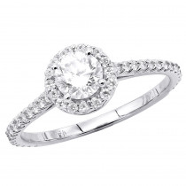 18K Gold Round Diamond Engagement Ring 1.27ct Halo Design