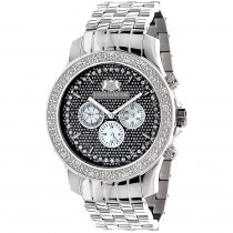 Large 46mm Affordable Real Diamond Watch for Men Luxurman Raptor 0.25ct Steel Band