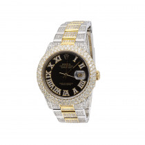 Bust Down Watches Iced Out Mens Diamond Rolex Watch DateJust 36mm Yellow Gold Bezel