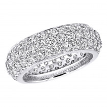 Designer 18K Gold Pave Diamond Eternity Ring 3.23ct