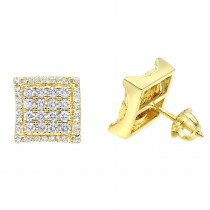 Designer Pave Diamond Earrings Studs 1.5ct 14K Gold