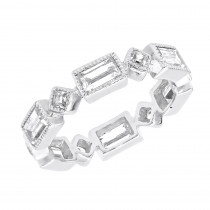 Thin Designer Diamond Eternity Rings: Princess Cut Baguette Band 3.50ct 14K