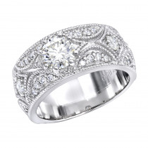 Designer Platinum Diamond Engagement Ring Antique Style 1.25ct